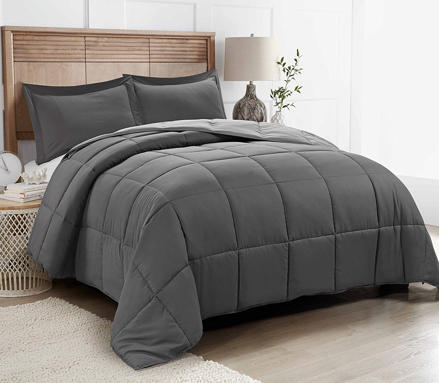 Duvet And Comforter Sets All Season Down Alternative Comforter Set 2pc Box Stitched Reversible Comforter With One Sham Quilted Duvet Insert With Corner Tabs For Duvet