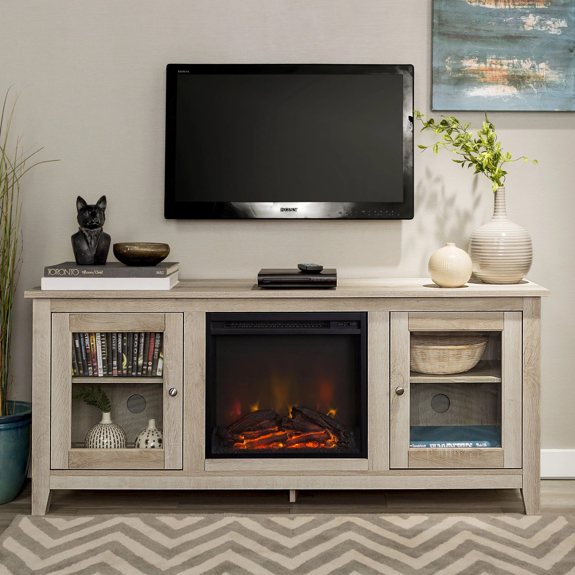 Fireplace Tv Combo Traditional Wood Fireplace Tv Stand For Tvs Up To 60