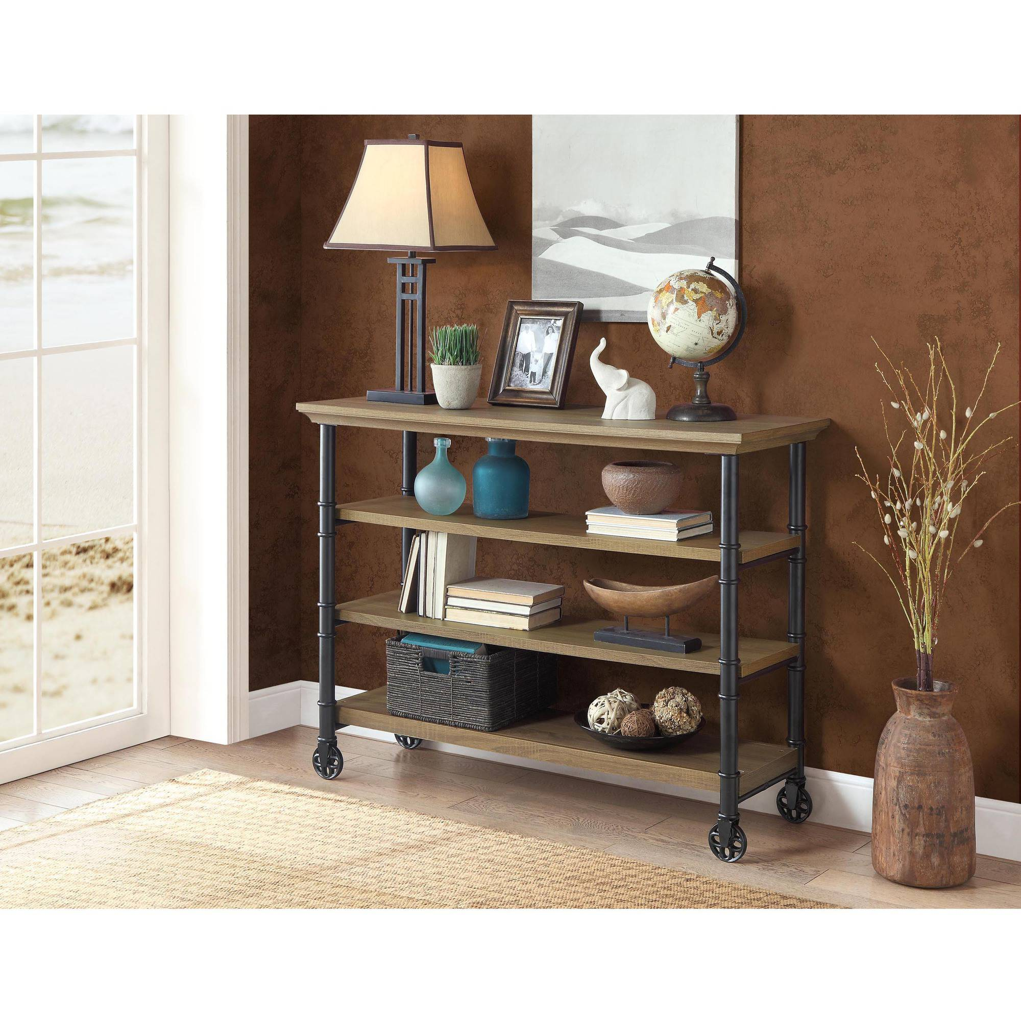 Small Wine Stand Whalen Santa Fe Portable Kitchen Cart With Wine Rack Rustic Brown