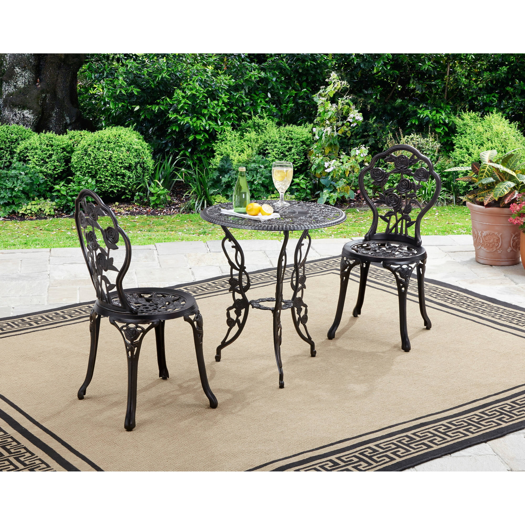 Round Table Patio Furniture Sets Better Homes And Gardens Rose 3 Piece Outdoor Bistro Set