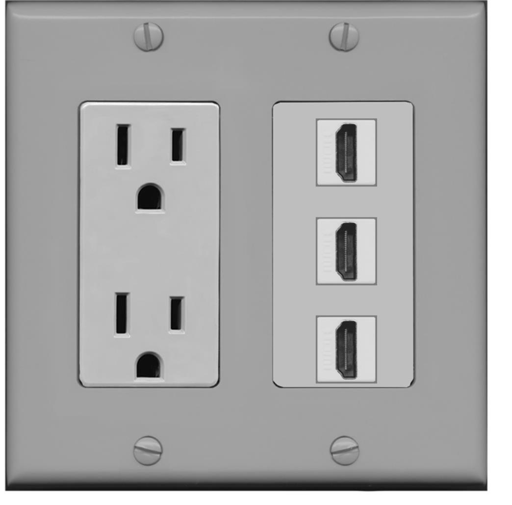Hdmi Outlet Riteav 15 Amp Power Outlet 3 Port Hdmi Decora Wall Plate Gray