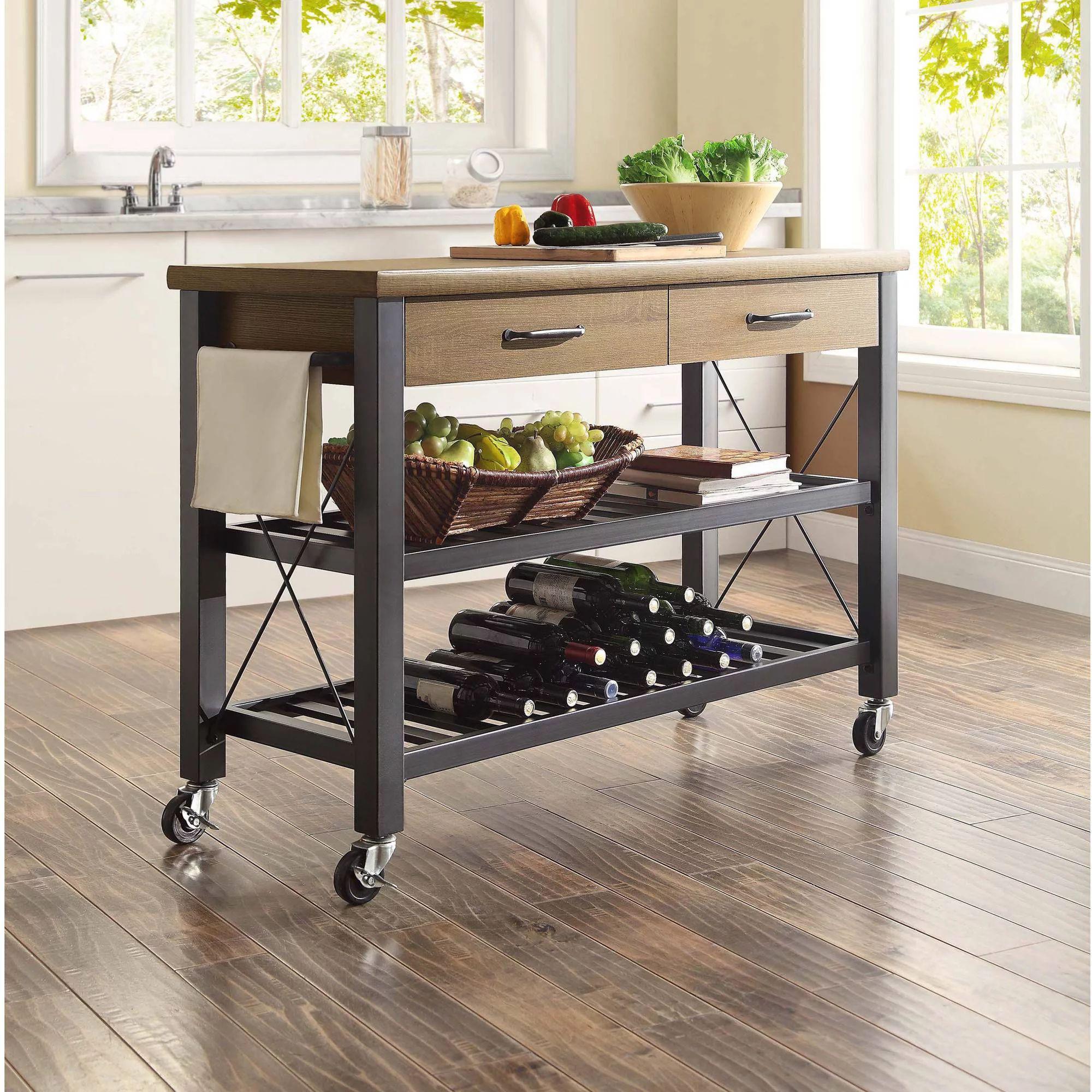 Whalen santa fe rolling kitchen cart with metal shelves rustic brown walmart com