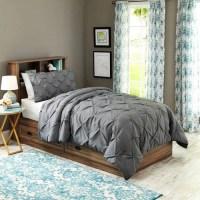 Twin/Twin XL Pintuck Bedding Comforter Mini Set Charcoal ...