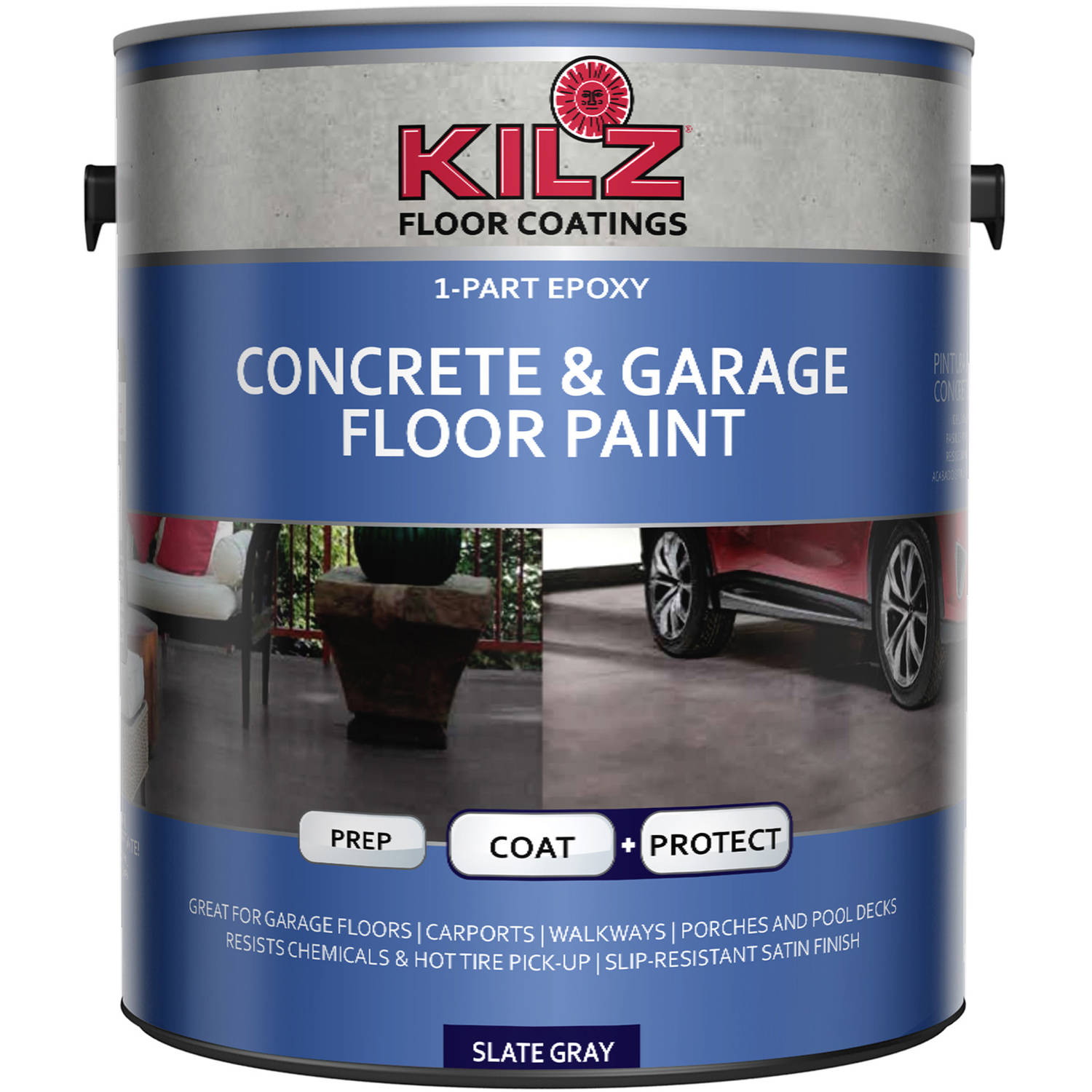 Garage Floor Paint In Basement Kilz 1 Part Epoxy Acrylic Interior Exterior Concrete And Garage Floor Paint Satin 1 Gal
