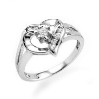 Sterling Silver Cubic Zirconia Heart Promise Ring ...