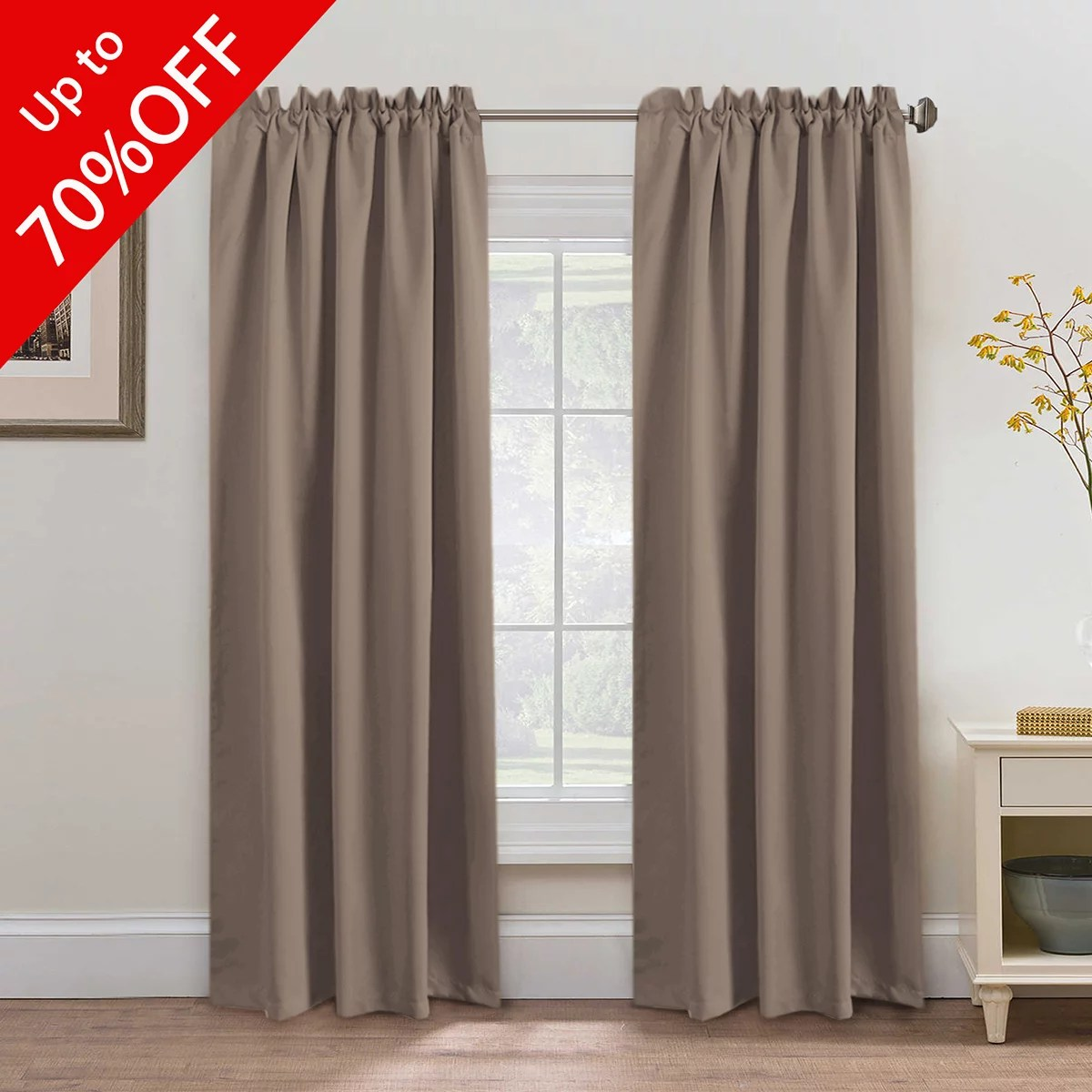Blackout Thermal Insulated Curtains Drapes Back Tab Rod Pocket Energy Efficient Bedroom Curtains Warm Taupe Sold Per Pair 52wx84l Inch Walmart Com Walmart Com