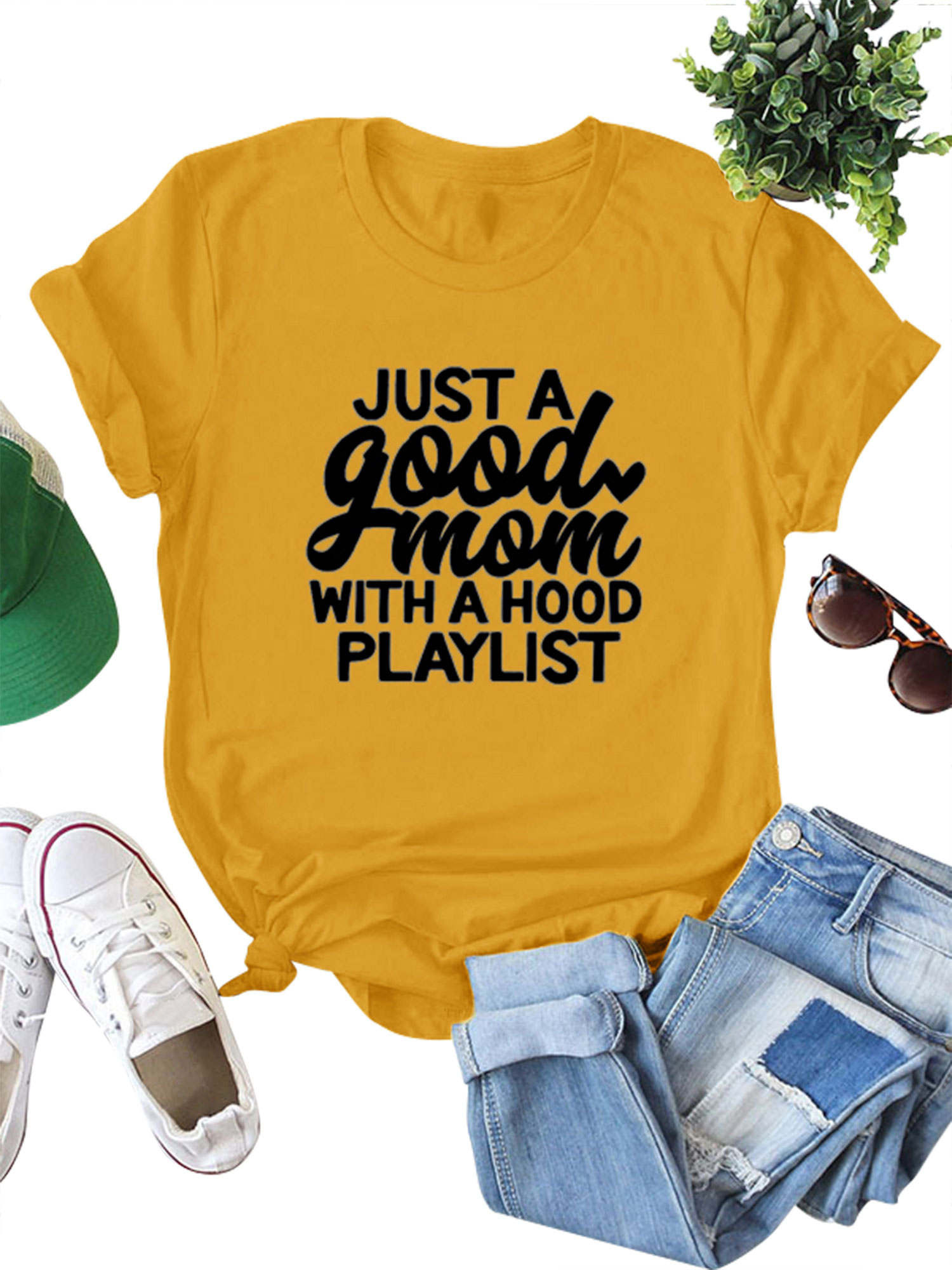 Garage Clothing Playlist Lefashion Women Just A Good Mom With A Hood Playlist Letter Print T Shirt Solid Color Casual Tops Tee