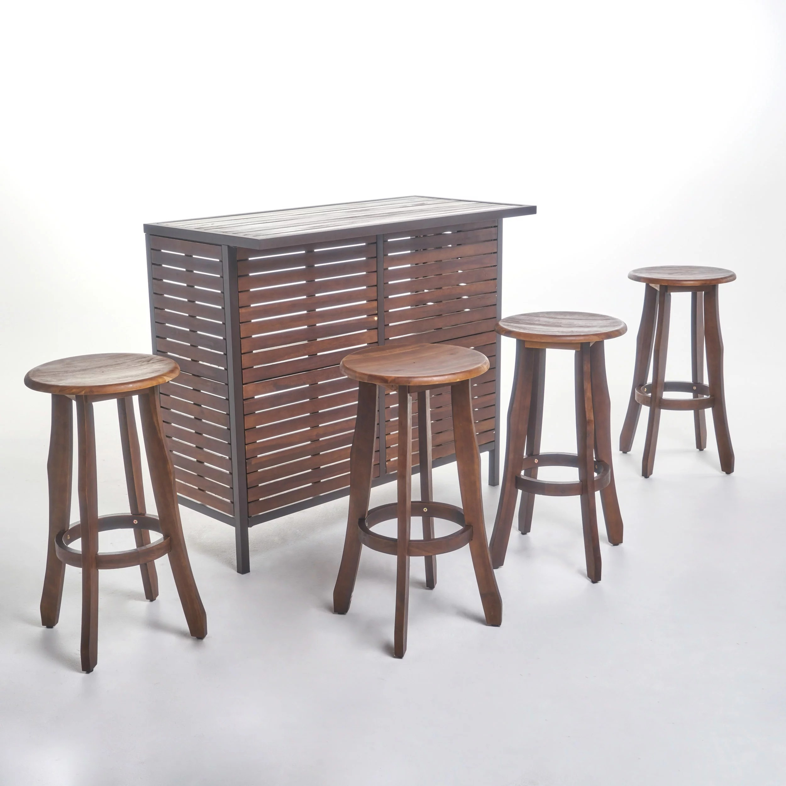 Bar En Pierre Pierre Outdoor 5 Piece Acacia Wood Bar Set Dark Brown Finish