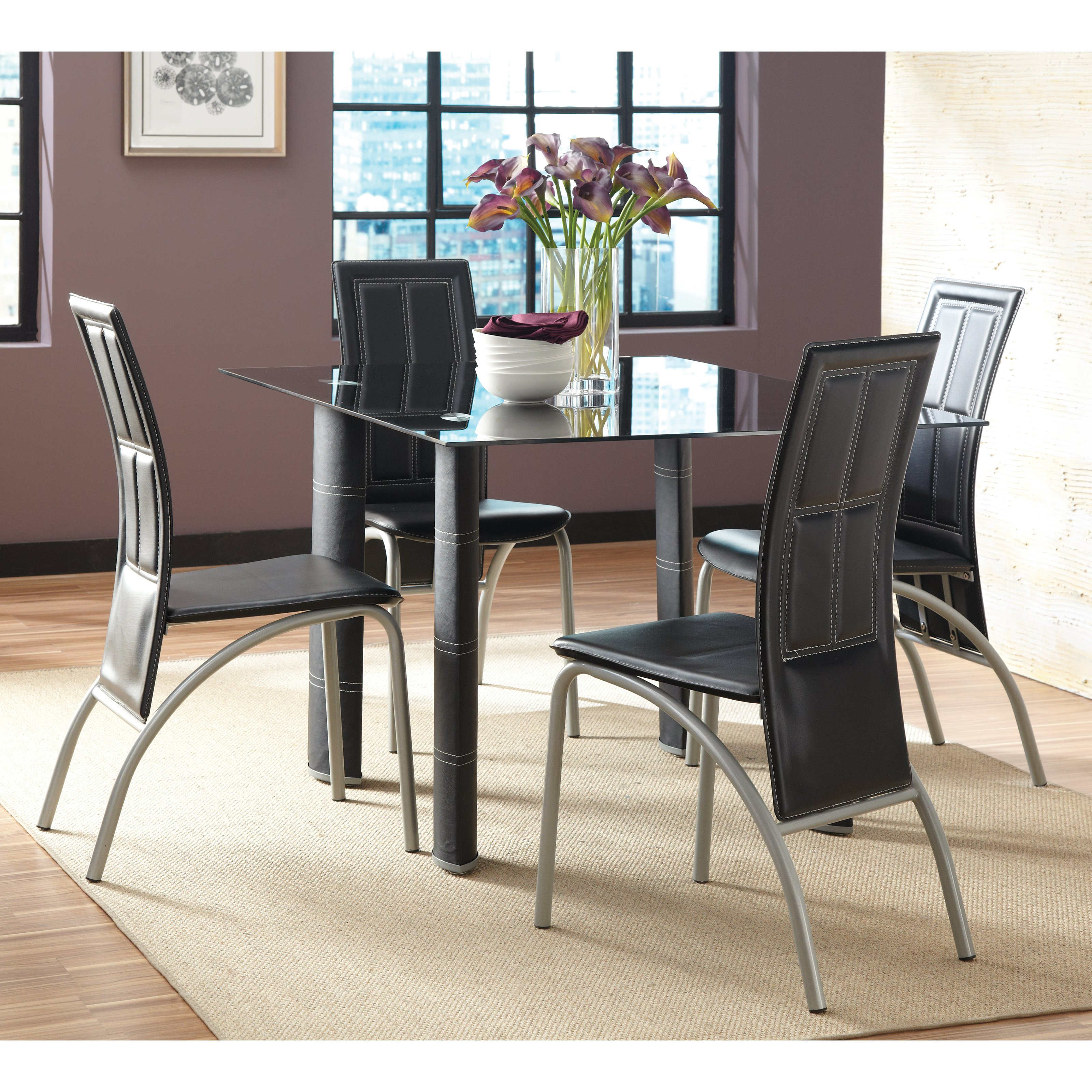 Glass Dining Table And Chairs Steve Silver Calvin 5 Piece Glass Dining Table Set Black