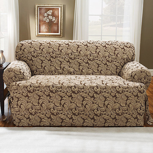 Sure Fit Scroll Brown T Cushion Loveseat Slipcover