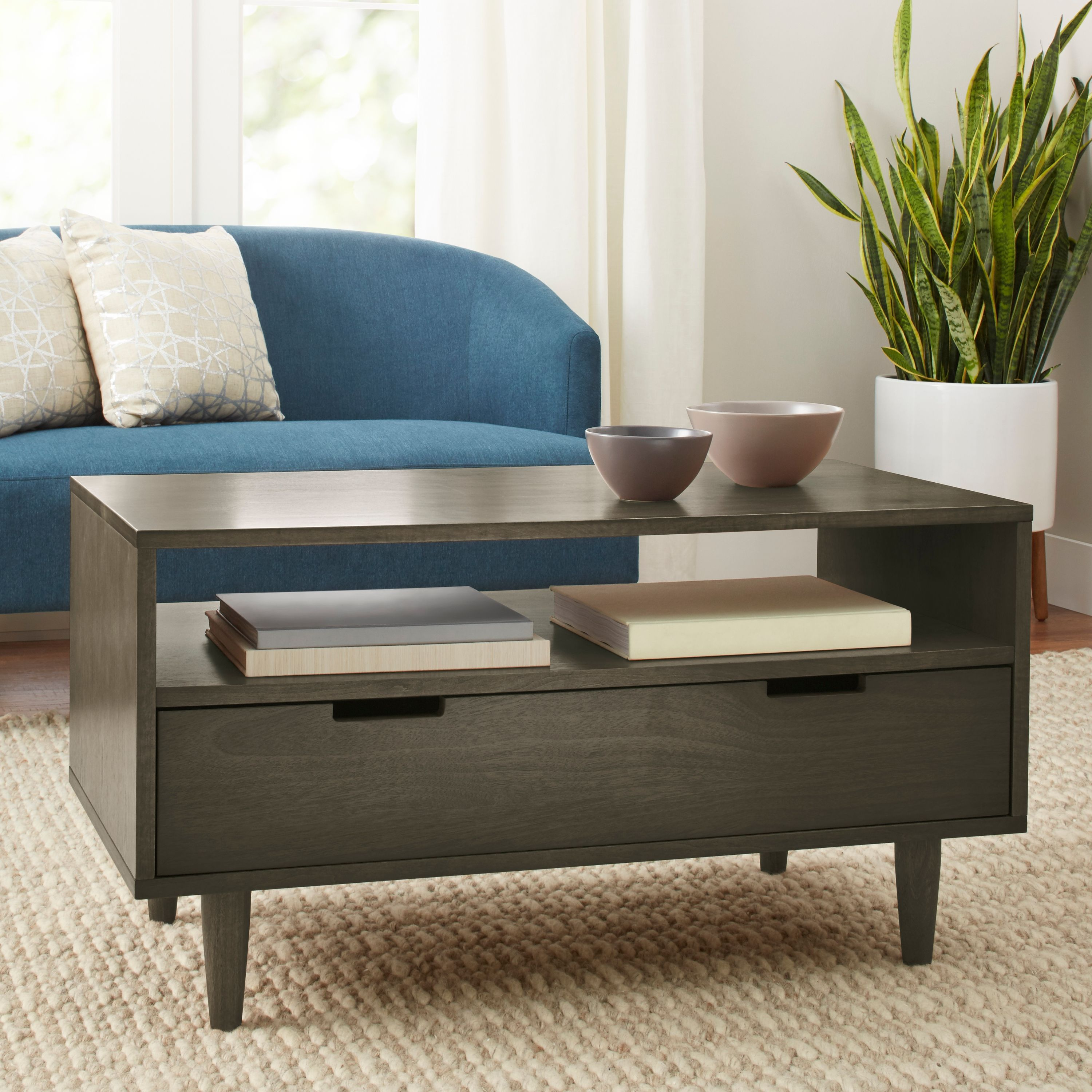 Modern Coffee Table With Storage Better Homes Gardens Flynn Mid Century Modern Coffee Table Pecan