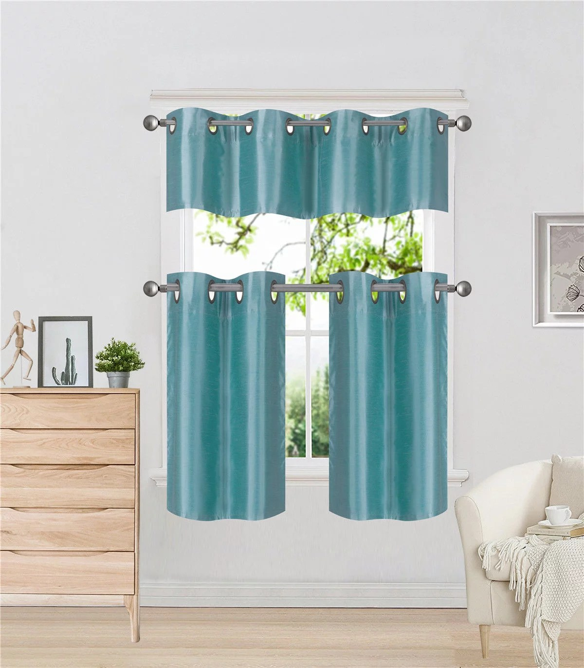 Teal Blackout Curtains K7 Teal 3 Piece Insulated Blackout Curtain Treatment With Grommets For Small Windows Set Includes Two 2 Panels 28