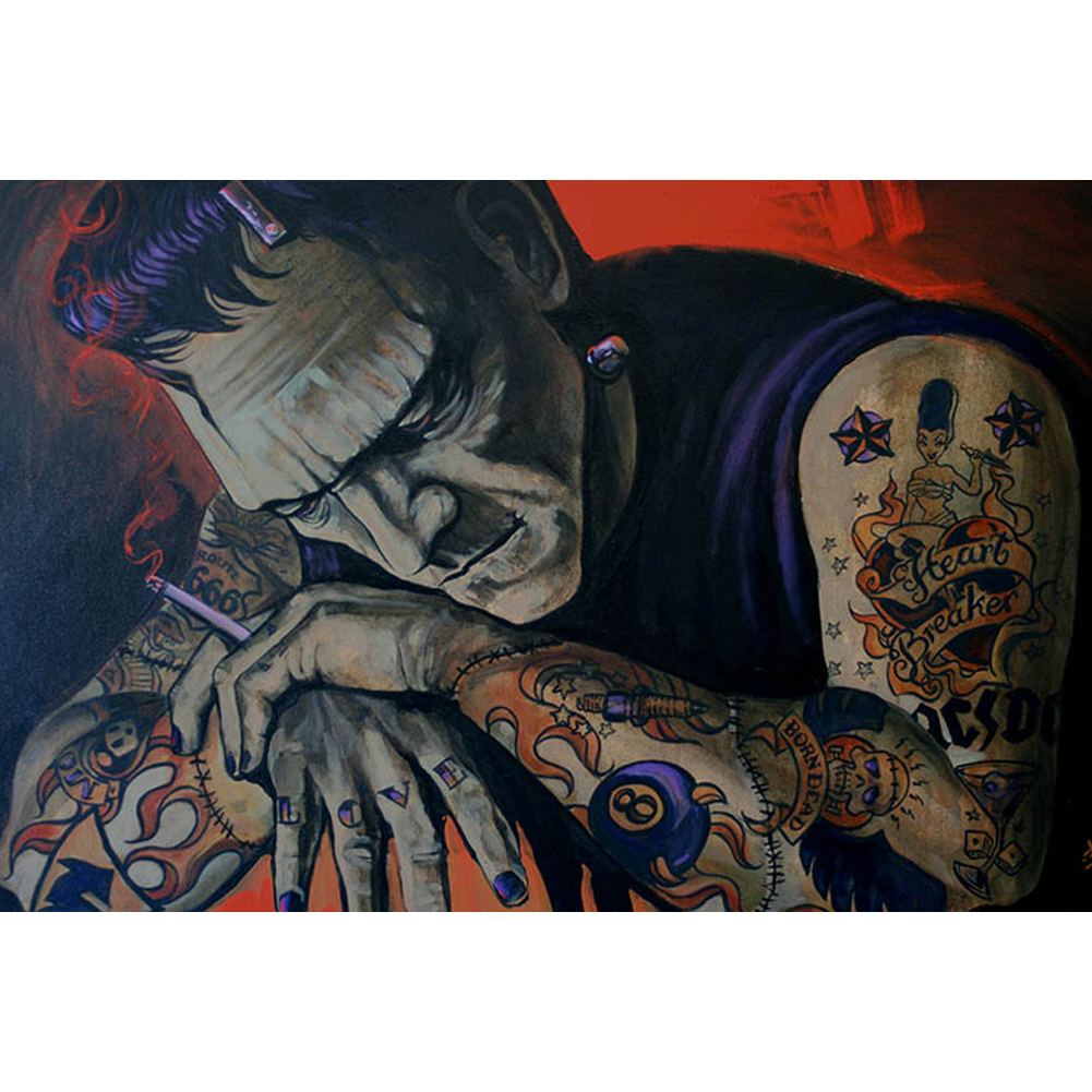 Canvas Giclee Heart Breaker By Mike Bell Frankenstein Monster Smoking Cigarette Canvas Giclee