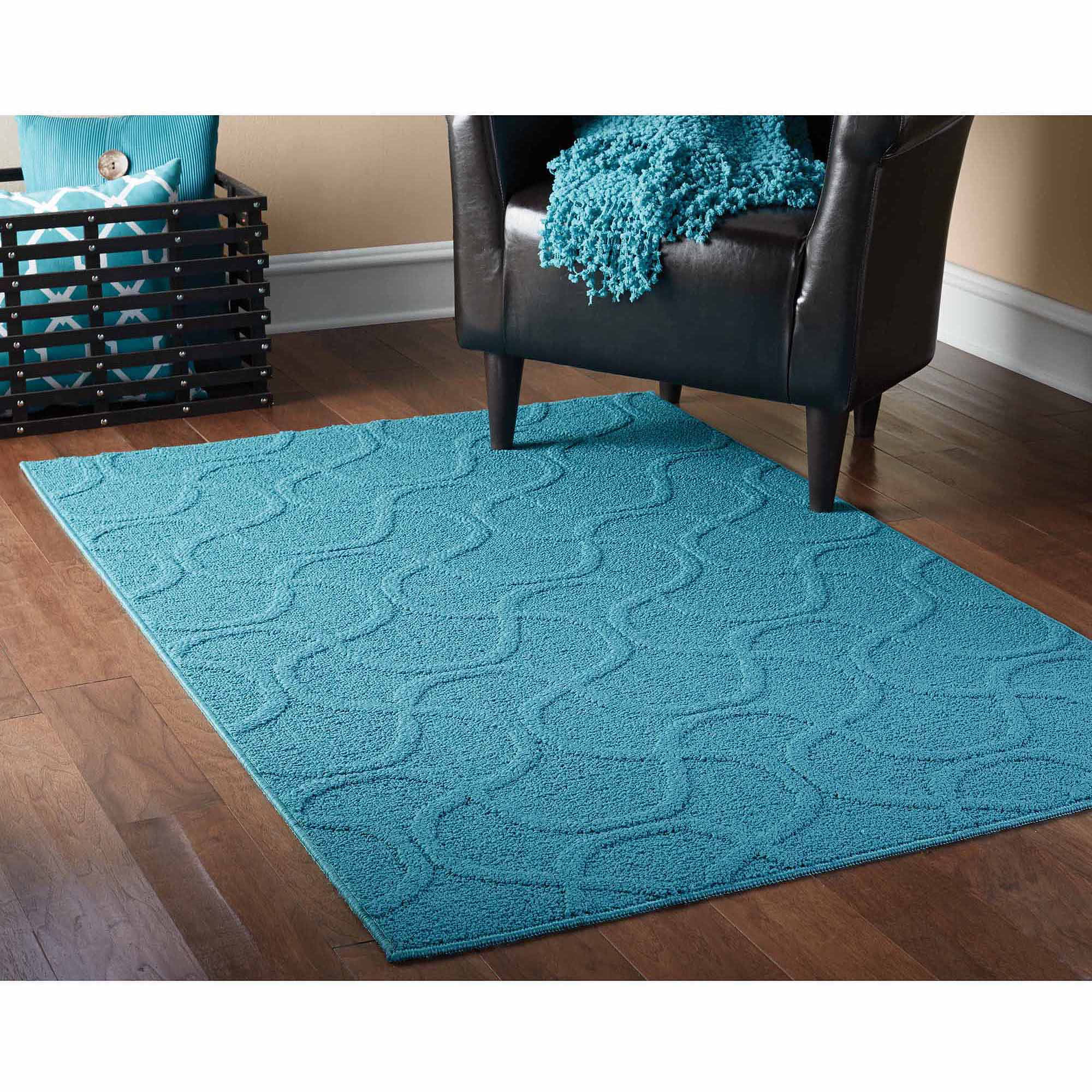 Teal Color Area Rugs Mainstays Fancy Fret Area Rug