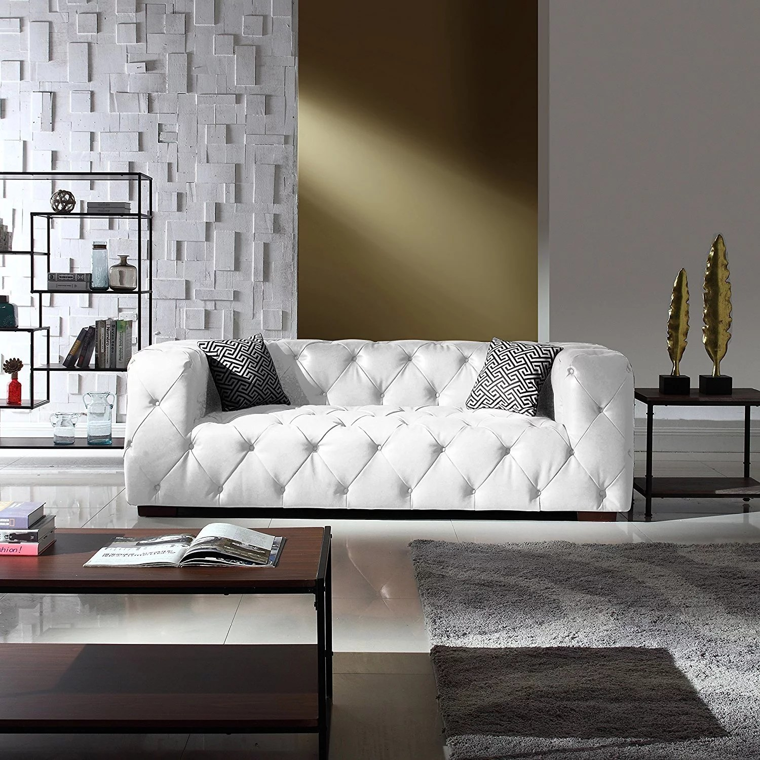 Sofa In Chesterfield Look Large Tufted Real Leather Chesterfield Sofa Classic Living Room Couch White