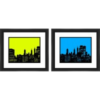 """Framed Graphic """"Green and Blue City Sky"""" Wall Art, Set of ..."""