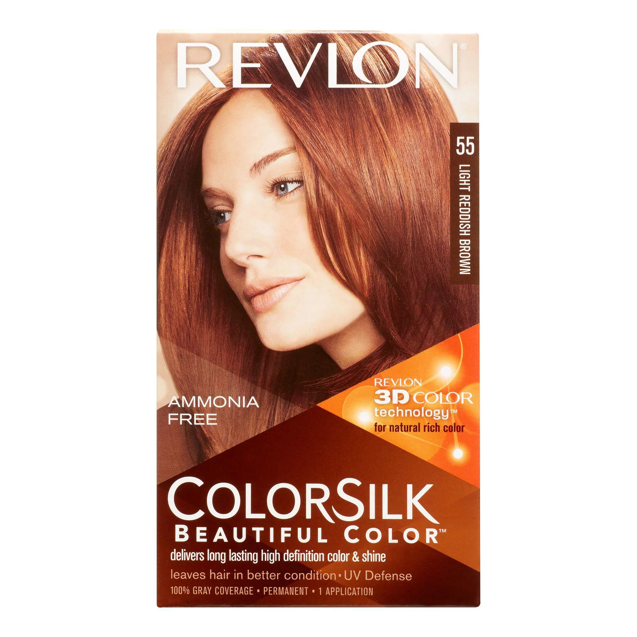 Revlon colorsilk beautiful color permanent hair color 55 light reddish brown walmart com