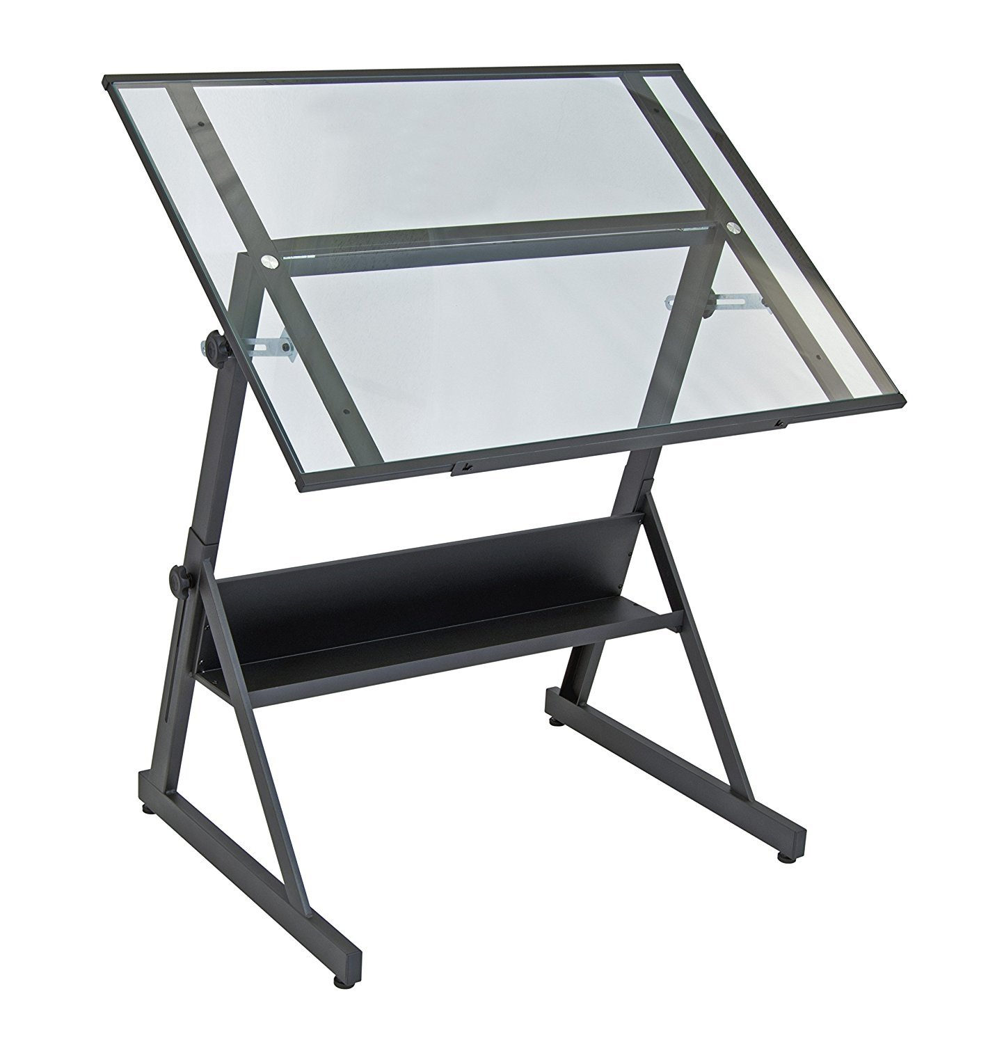Adjustable Height Drafting Table Studio Designs 13346 Solano Adjustable Height Drafting Table Charcoal Clear Glass