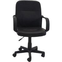 Hodedah PU Leather Mid-Back Office Chair, Black - Walmart.com