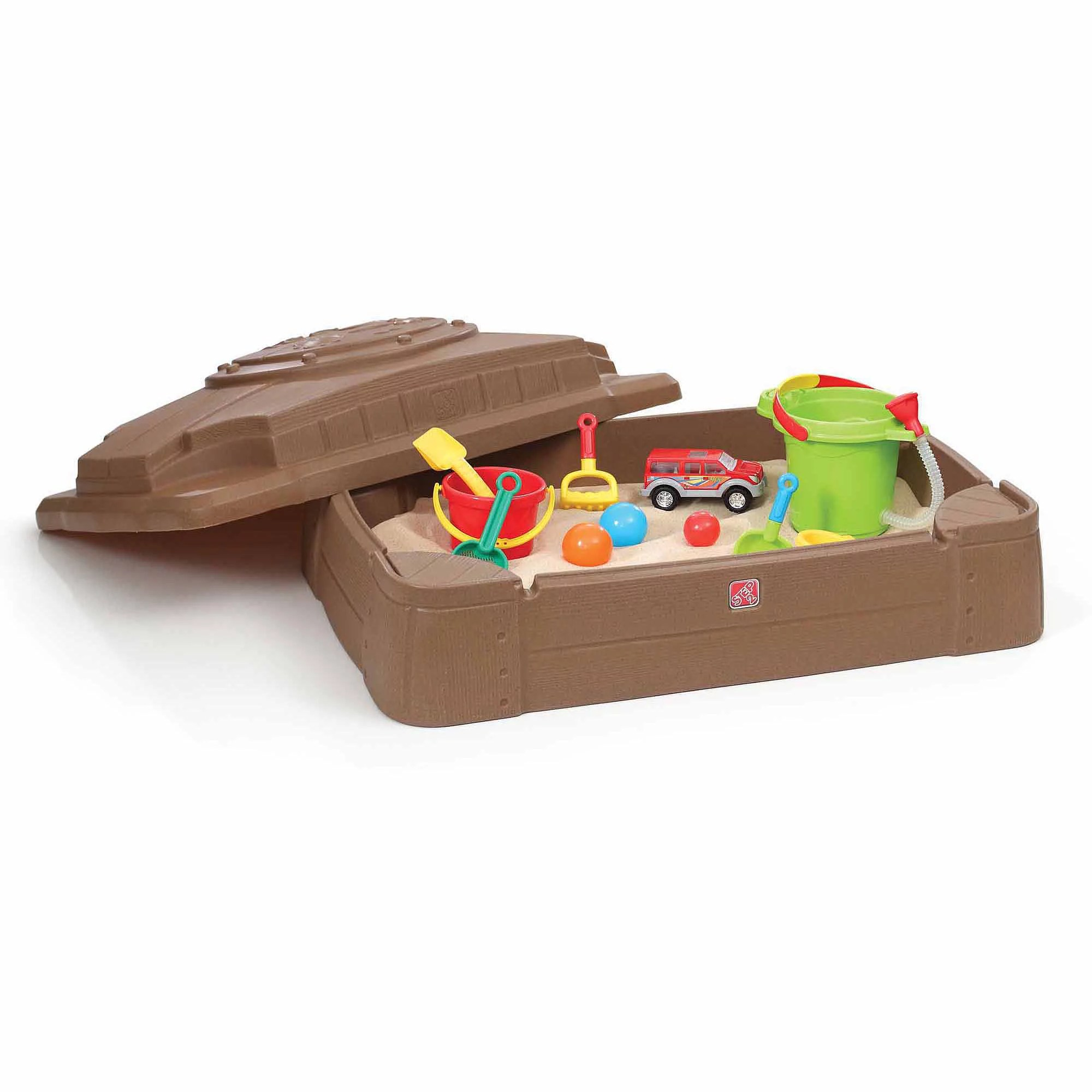 Big W Sand Pit Step2 Play And Store Sandbox With Cover And Four Molded In Seats