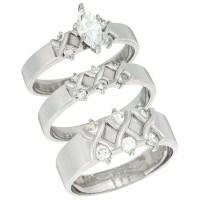 Sterling Silver Cubic Zirconia Trio Engagement Wedding ...