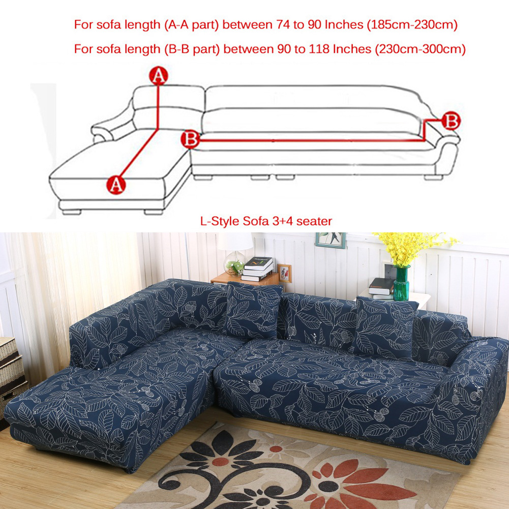 Big Sofa 290 Cm Sofa Covers For L Shape 2pcs Polyester Fabric Stretch Slipcovers 3 Seater 70