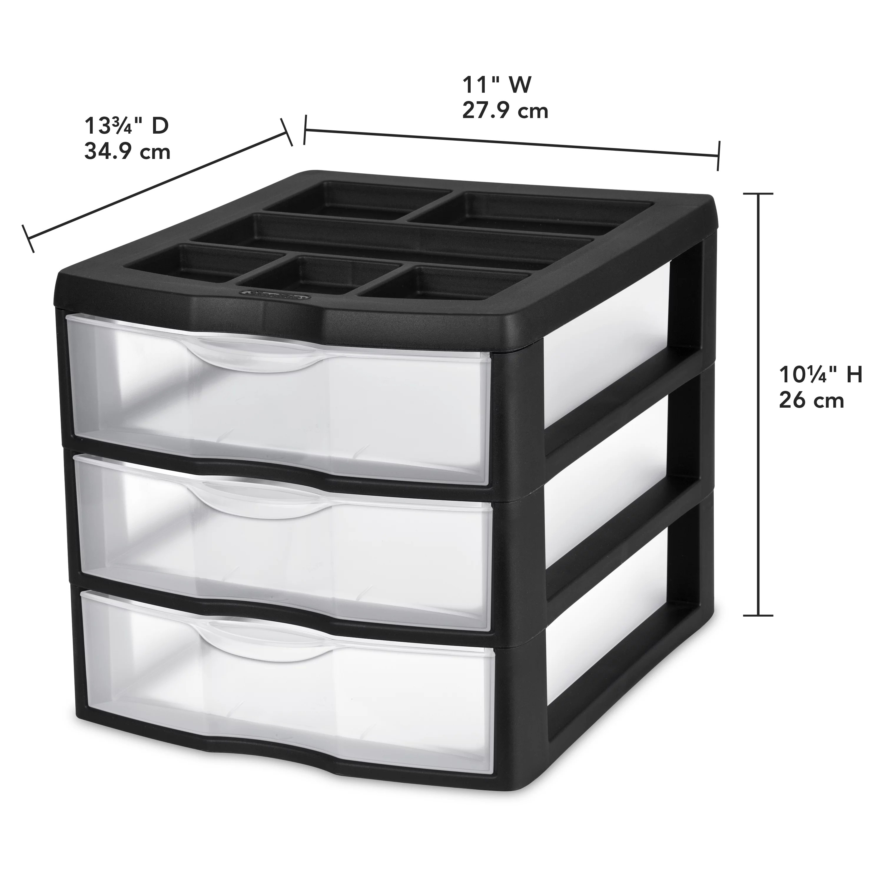 Desk Top Drawers Sterilite Medium 3 Drawer Desktop Unit Black