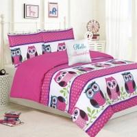 Girls Bedding Queen 4 Piece Comforter Bed Set, Owl Pink ...
