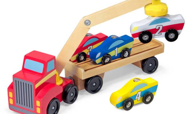 Melissa Doug Magnetic Car Loader Wooden Toy Set With 4