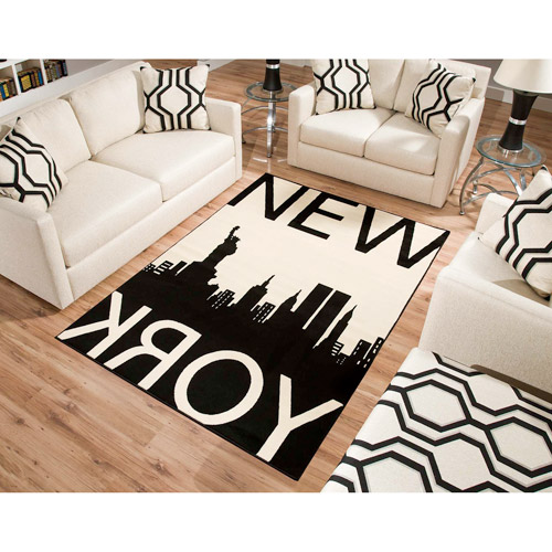 Terra New York Rectangle Area Rug Black White Walmartcom
