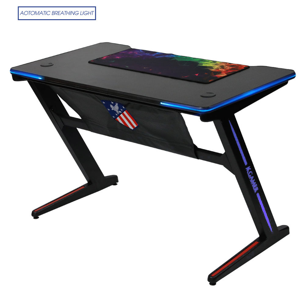 Computer Gaming Desk Kinsal Upgrade Z Shaped Gaming Desk Computer Desk Table Fighting Rgb Led Breathing Light Racing Table E Sports Durable Ergonomic Comfortable Pc