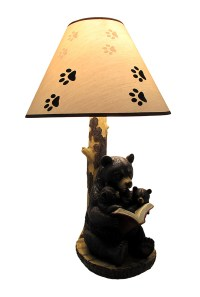 Black Bear Reading to Curious Cubs Table Lamp w/Paw Print ...