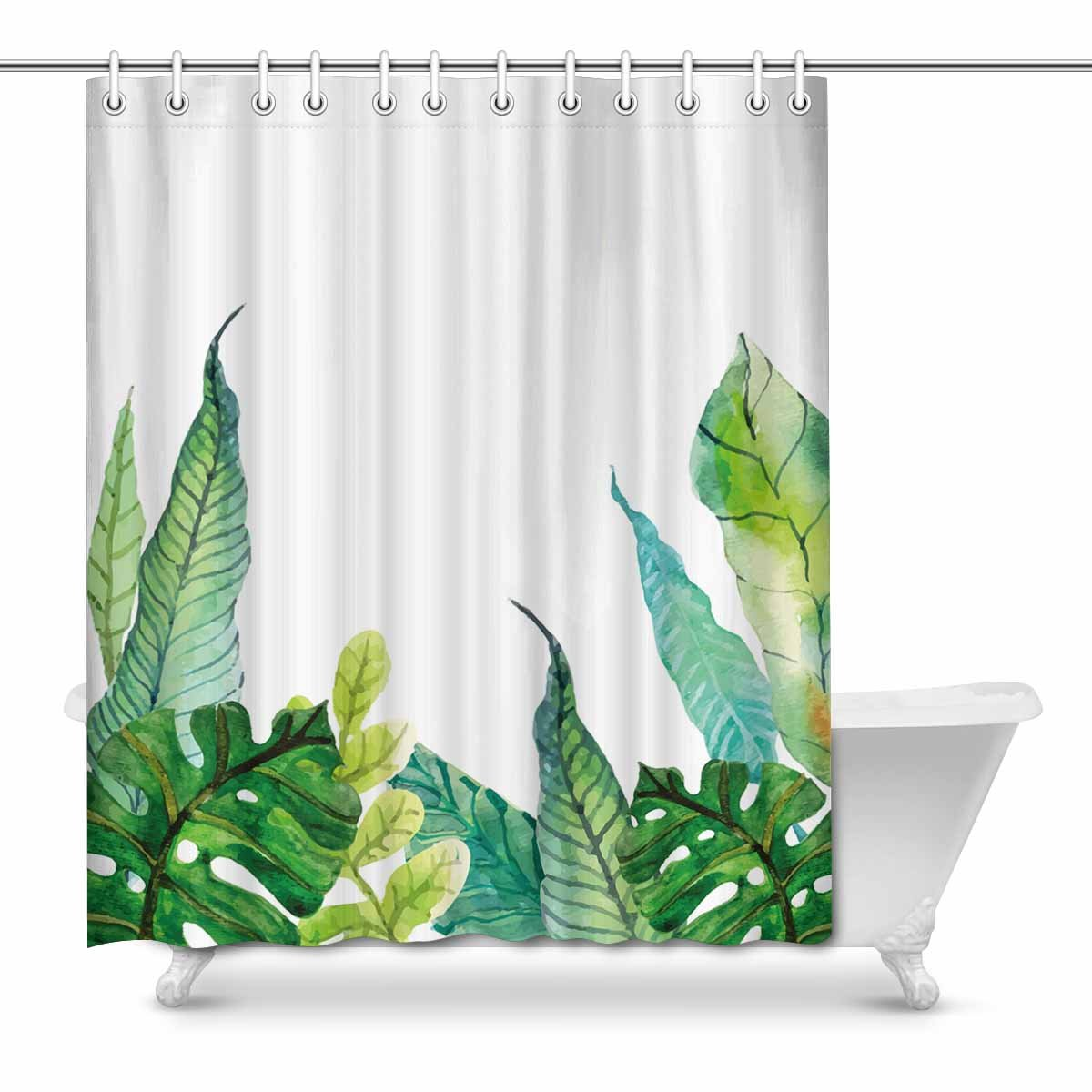 Banana Leaf Shower Curtain Mkhert Summer Hawaiian Tropical Palm Tree Banana Leaves Monstera Home Decor Waterproof Polyester Fabric Shower Curtain Bathroom Sets 66x72 Inch