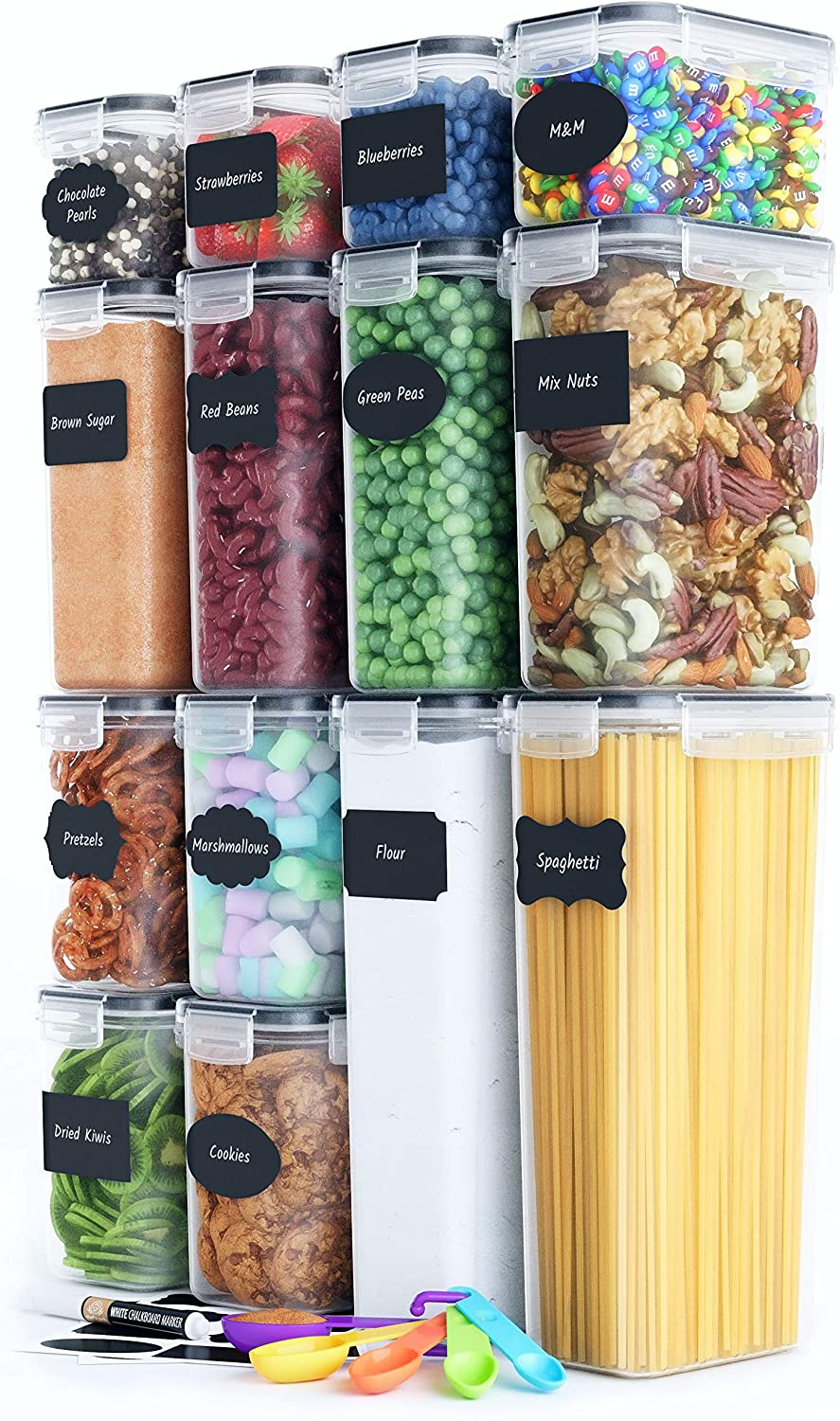 Chef S Path Airtight Food Storage Container Set 14 Pc Kitchen Pantry Organization Bpa Free Plastic Canisters With Durable Lids Ideal For Cereal Flour Sugar Labels Marker