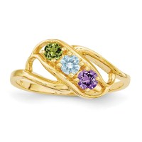 IceCarats - 14k Yellow Gold 3 Stone Mothers Ring - Walmart.com