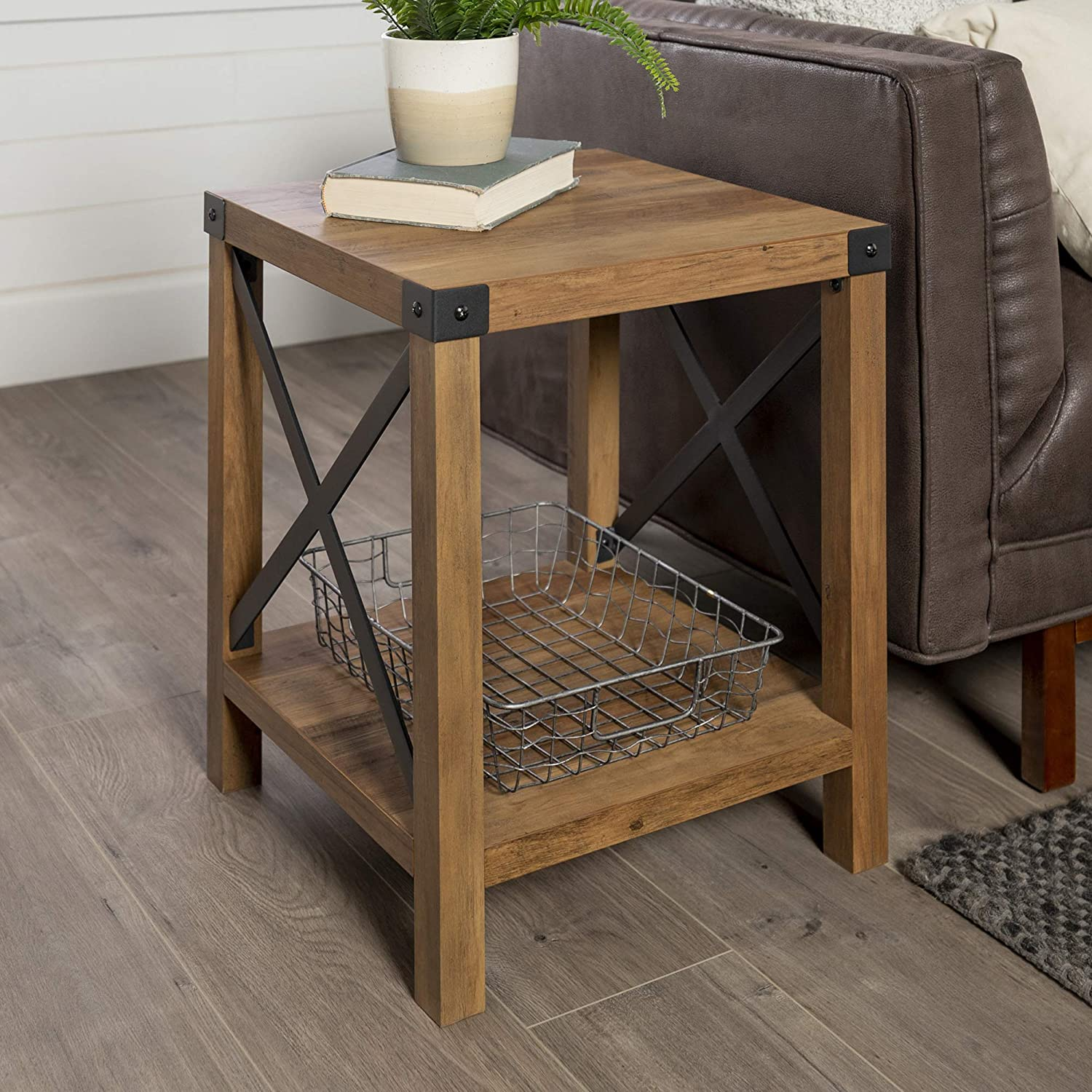 Walker Edison Furniture Company Rustic Modern Farmhouse Metal And Wood Square Side Accent Living Room Small End Table 18 Inch Reclaimed Barnwood Walmart Com Walmart Com