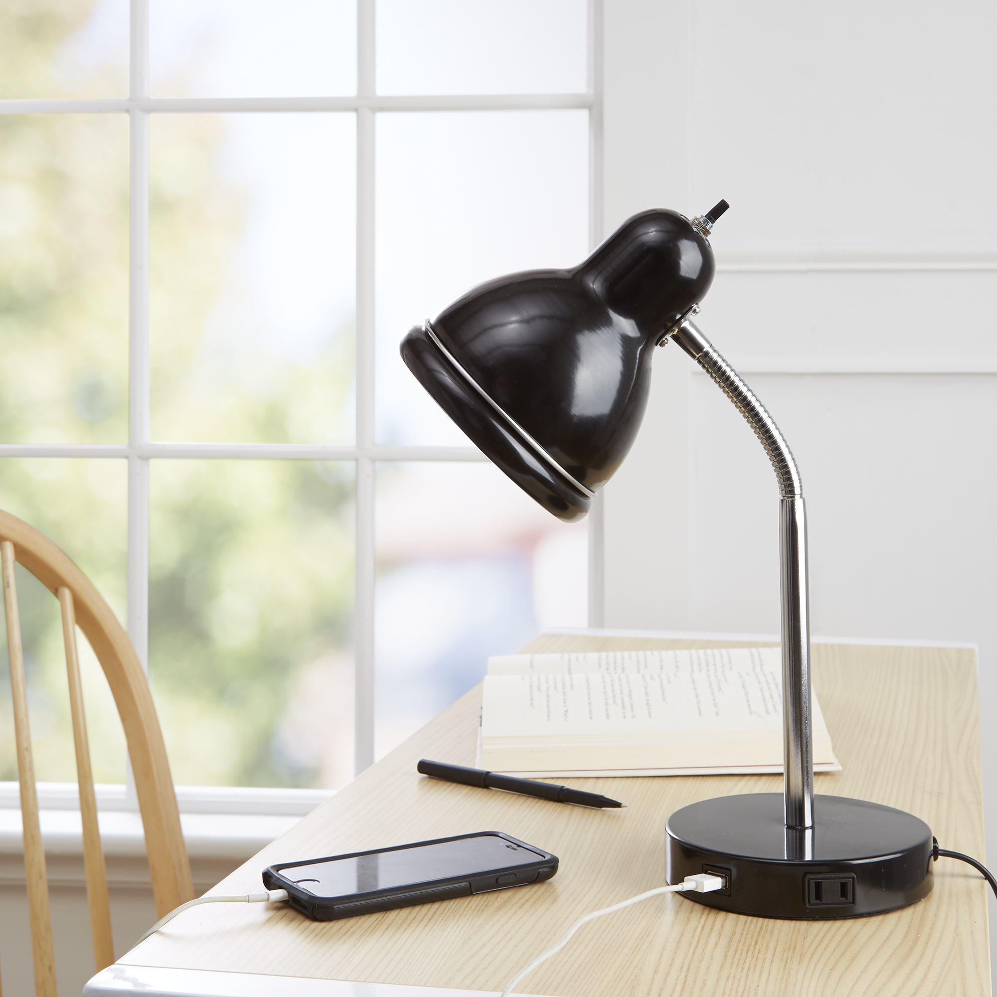 Desk Lamp Mainstays Usb Desk Lamp Black Finish With Chrome Gooseneck