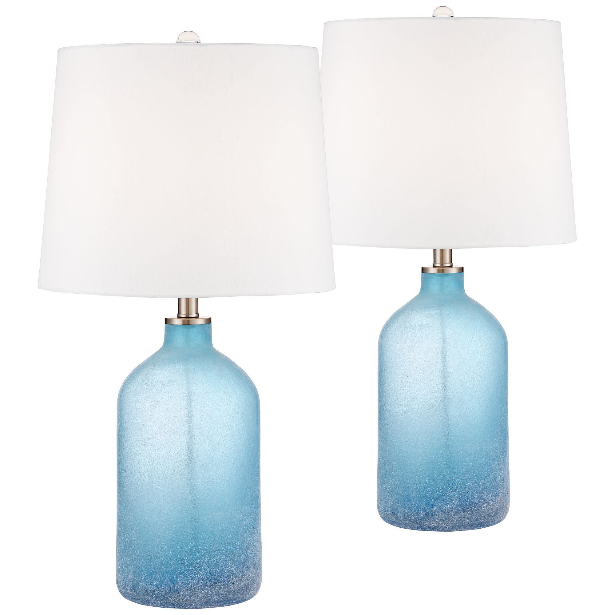 Coastal Lamps 360 Lighting Coastal Table Lamps Set Of 2 Frosted Sea Blue Glass White Drum Shade For Living Room Family Bedroom Nightstand