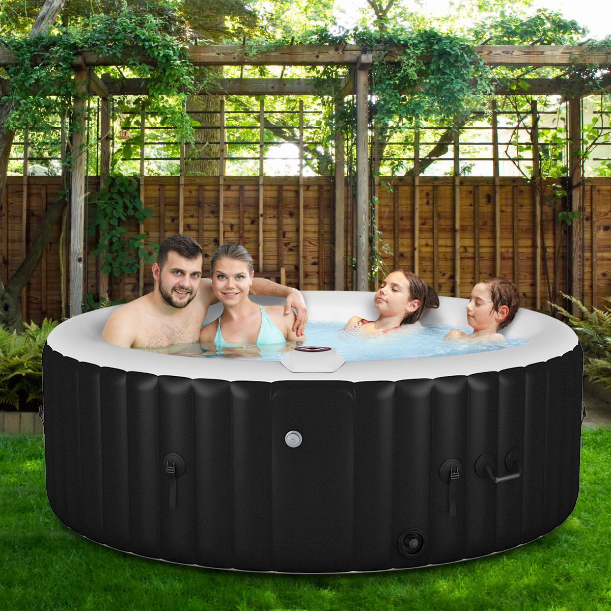 Goplus Portable Inflatable Bubble Massage Spa Hot Tub 4 Person Relaxing Outdoor Walmart Canada