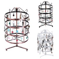 4 Tiers Round Metal Rotating Jewelry Stand Earring ...