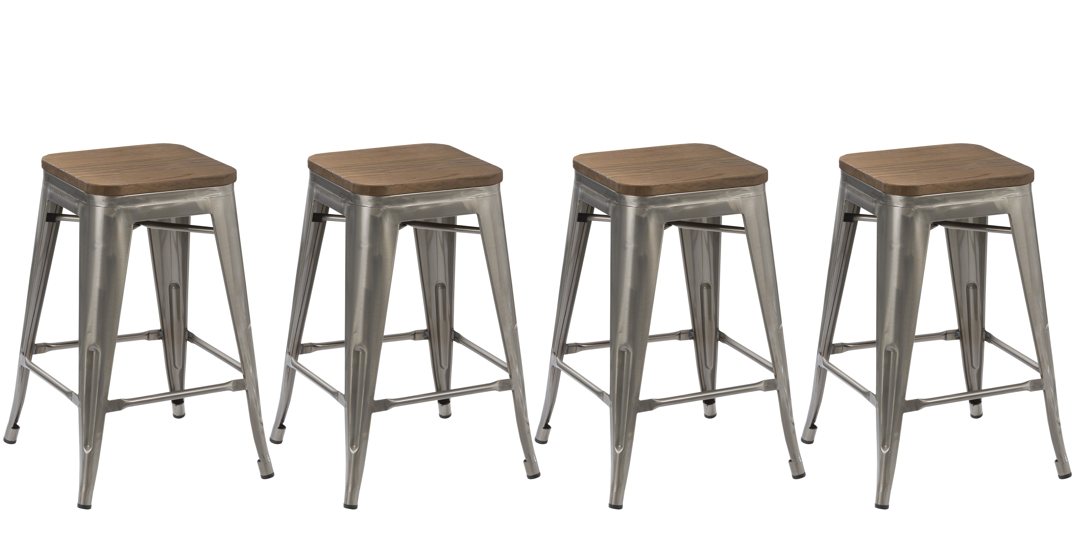 Tabourets Walmart Btexpert 24 Inch Industrial Stackable Metal Vintage Antique Style Clear Brush Distressed Counter Bar Stool Modern Wood Top Seat Set Of 4 Barstool