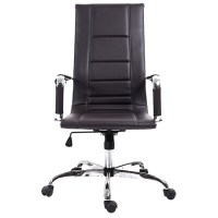 Brown High Back Modern Office Chair PU Leather Executive ...