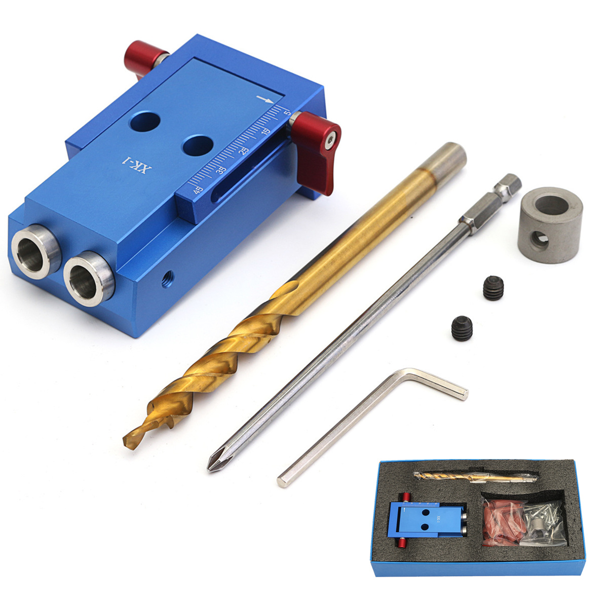 Hole Drill Bit Blue Aluminum Pocket Hole Drill Jig Kit With Step Drilling Bit Woodworking Cutter Tool