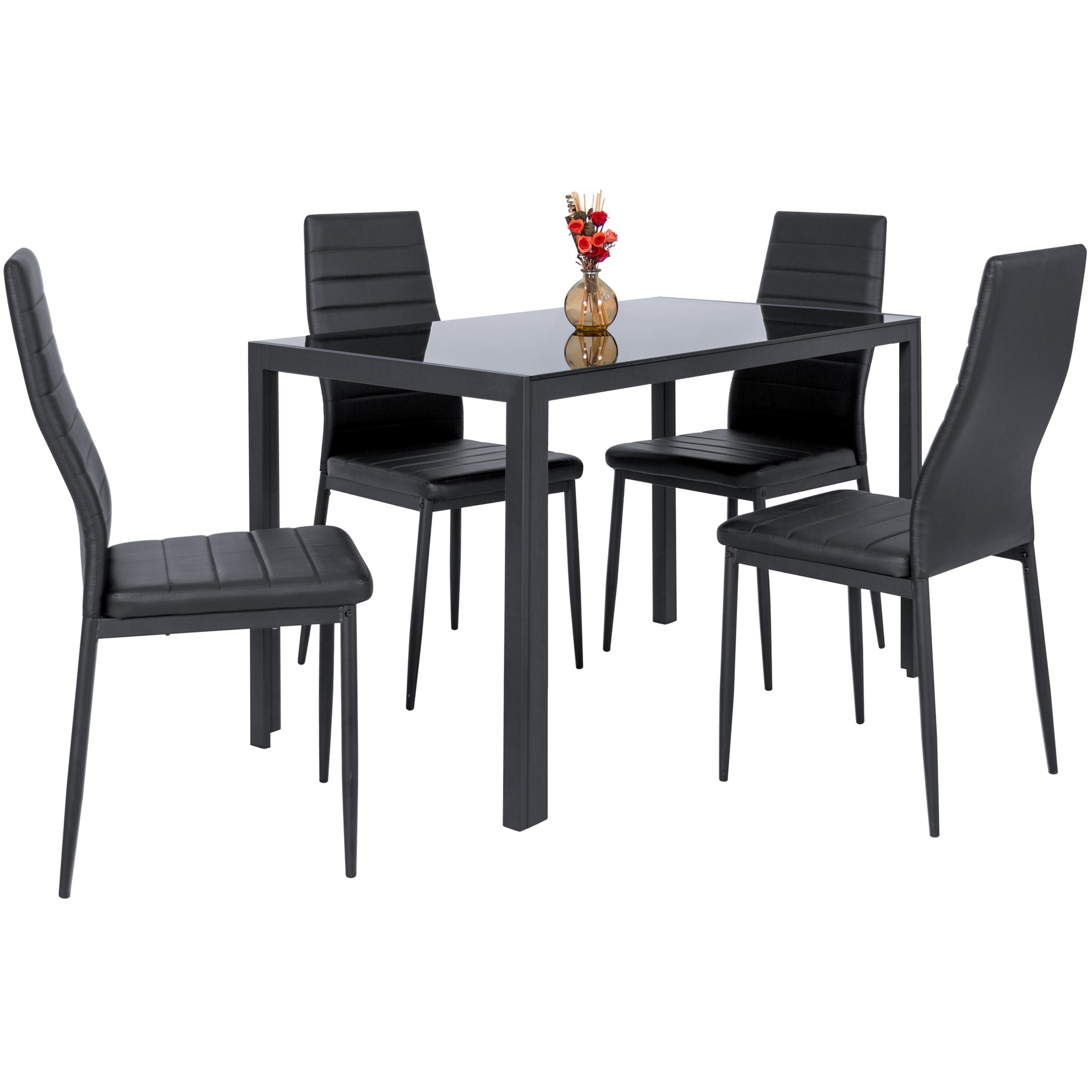 Glass Dining Table And Chairs Zimtown Modern Dining Table Set 4 Chair Glass Metal Kitchen Room Breakfast Furniture