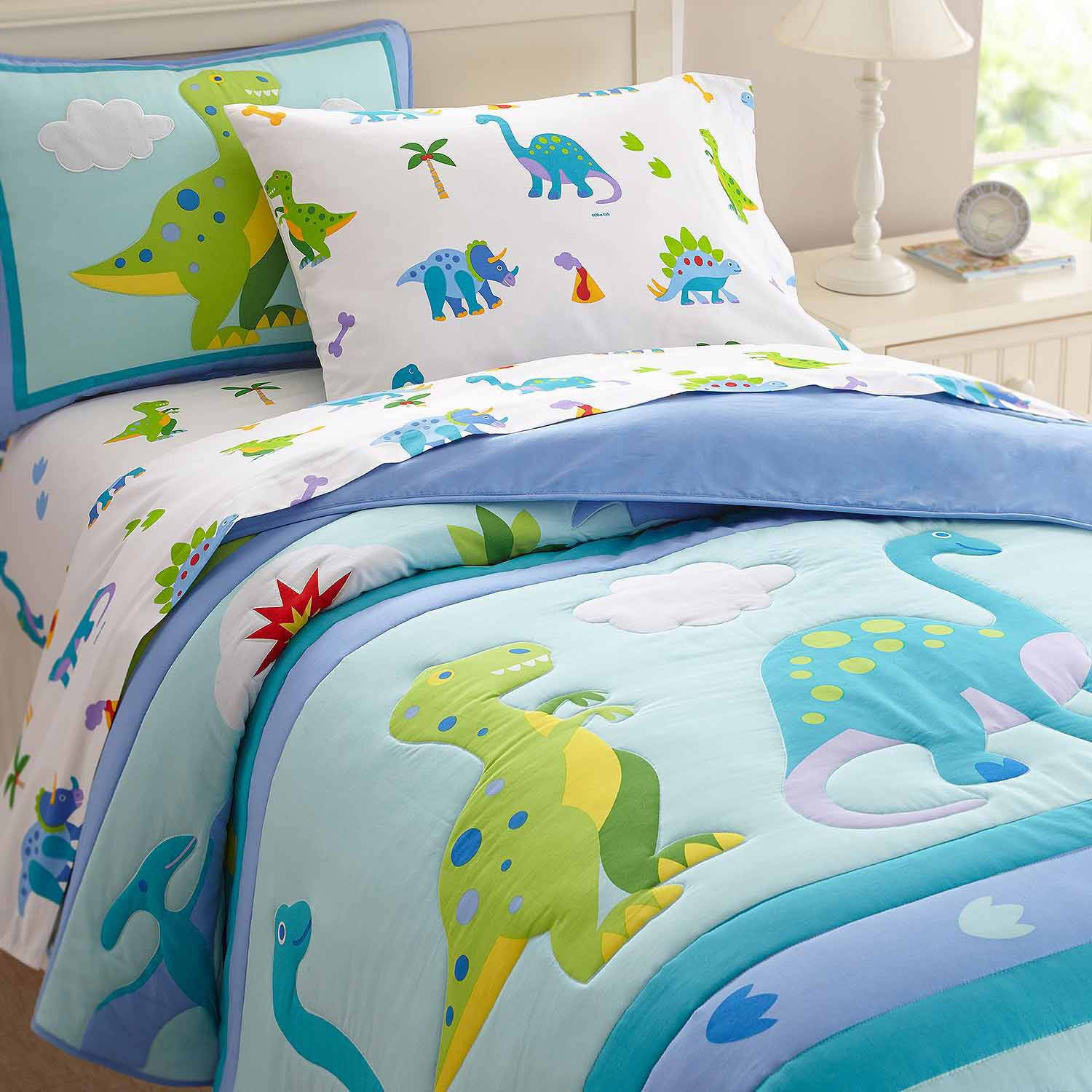 Boys Double Quilt Cover Olive Kids Dinosaur Land Bedding Comforter Set
