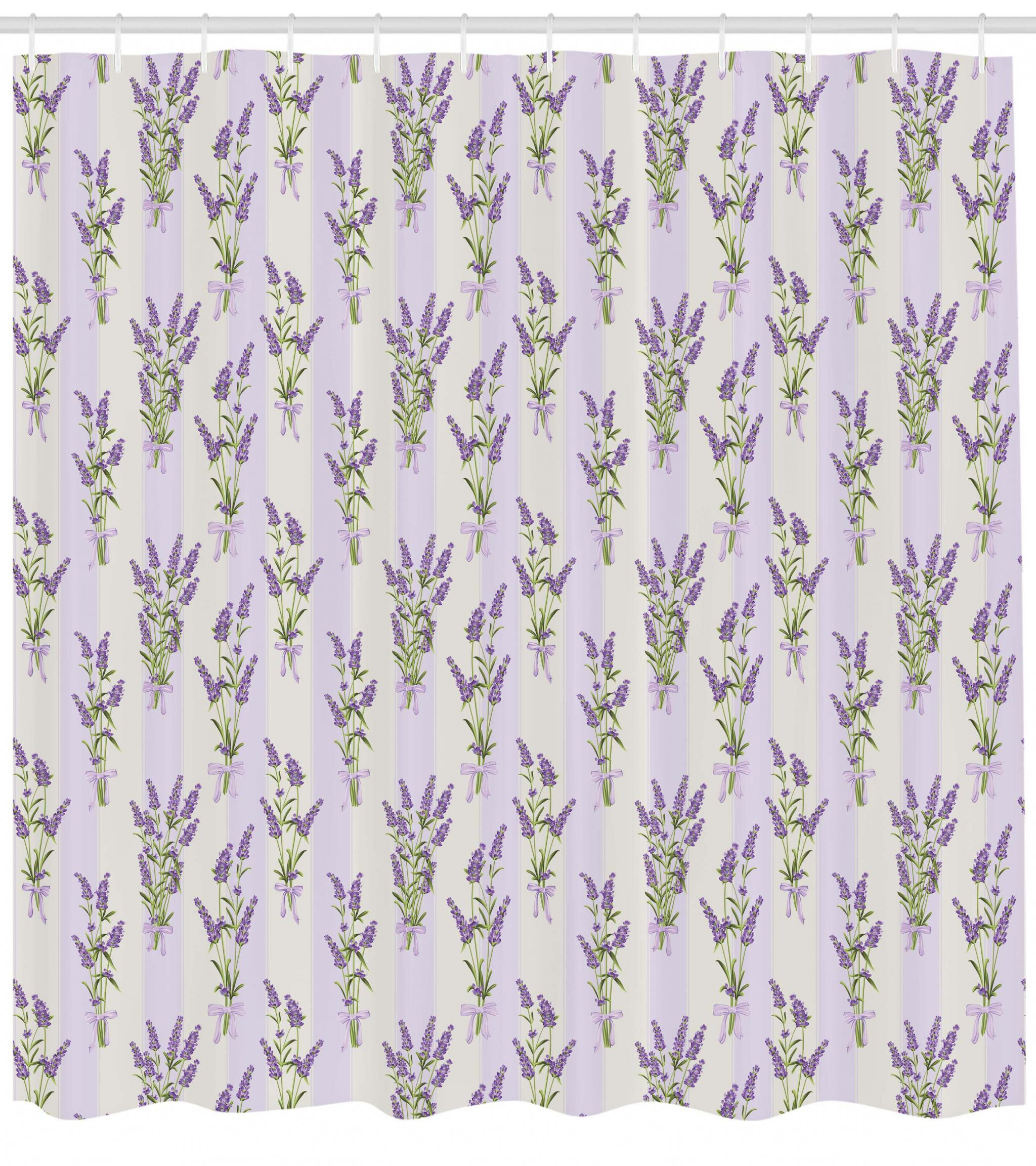 Lavender Shower Curtains Lavender Shower Curtain Stripes And Flowers With Ribbons Romantic Country Spring Season Inspired Design Art Fabric Bathroom Set With Hooks Purple