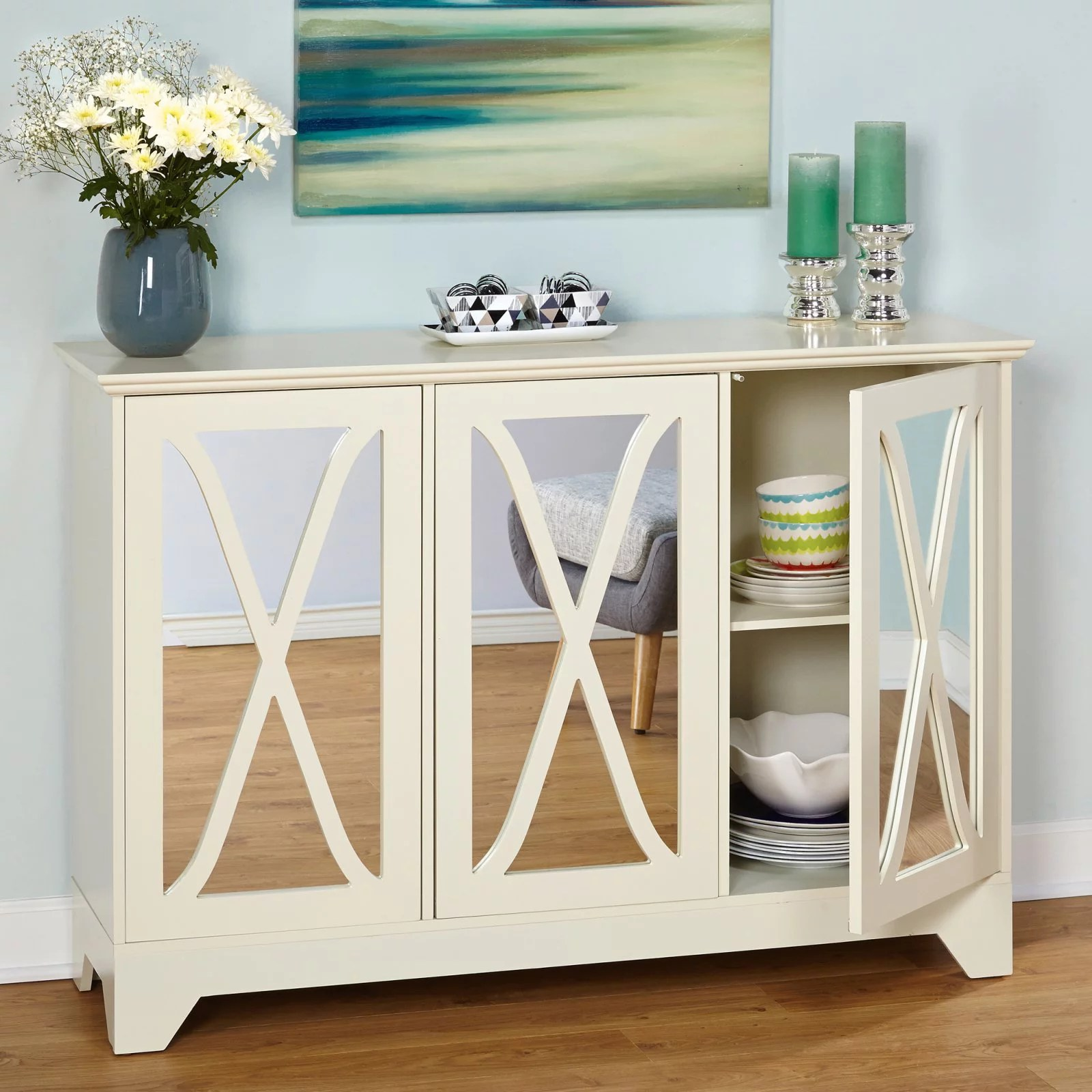 Reflections Buffet Console With Mirror Box 1 Of 2 Antique White Walmart Com Walmart Com