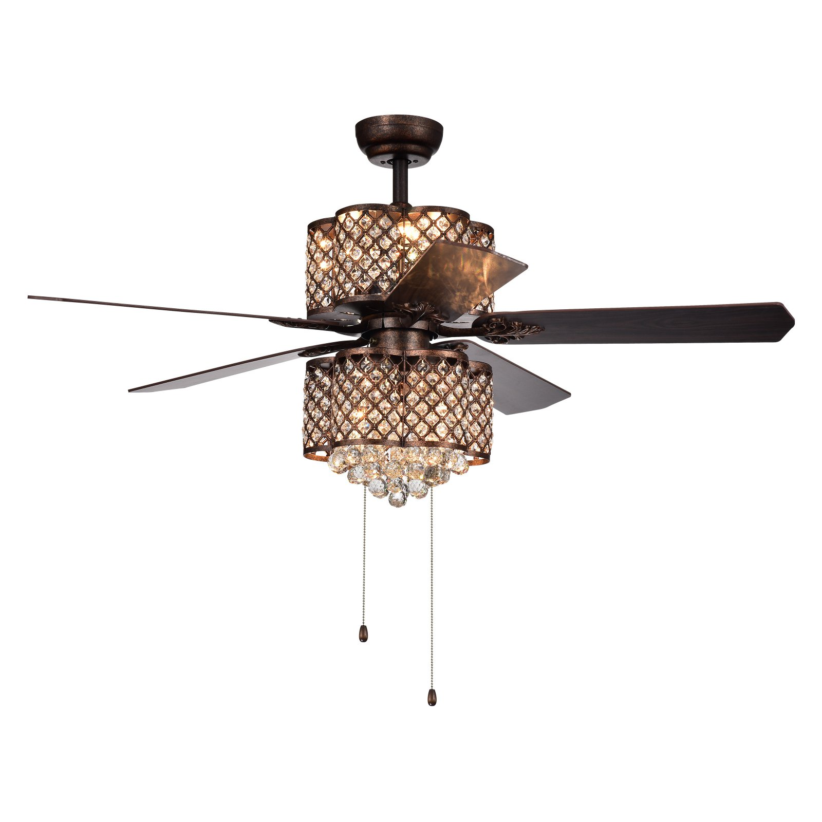 Rustic Ceiling Fan Light Fixtures Quincy 6 Light Crystal 5 Blade 52 Inch Rustic Bronze Ceiling Fan