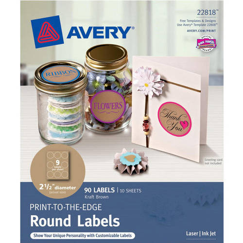 Avery Print-to-the-Edge Round Labels, 2 inch Diameter, Glossy White