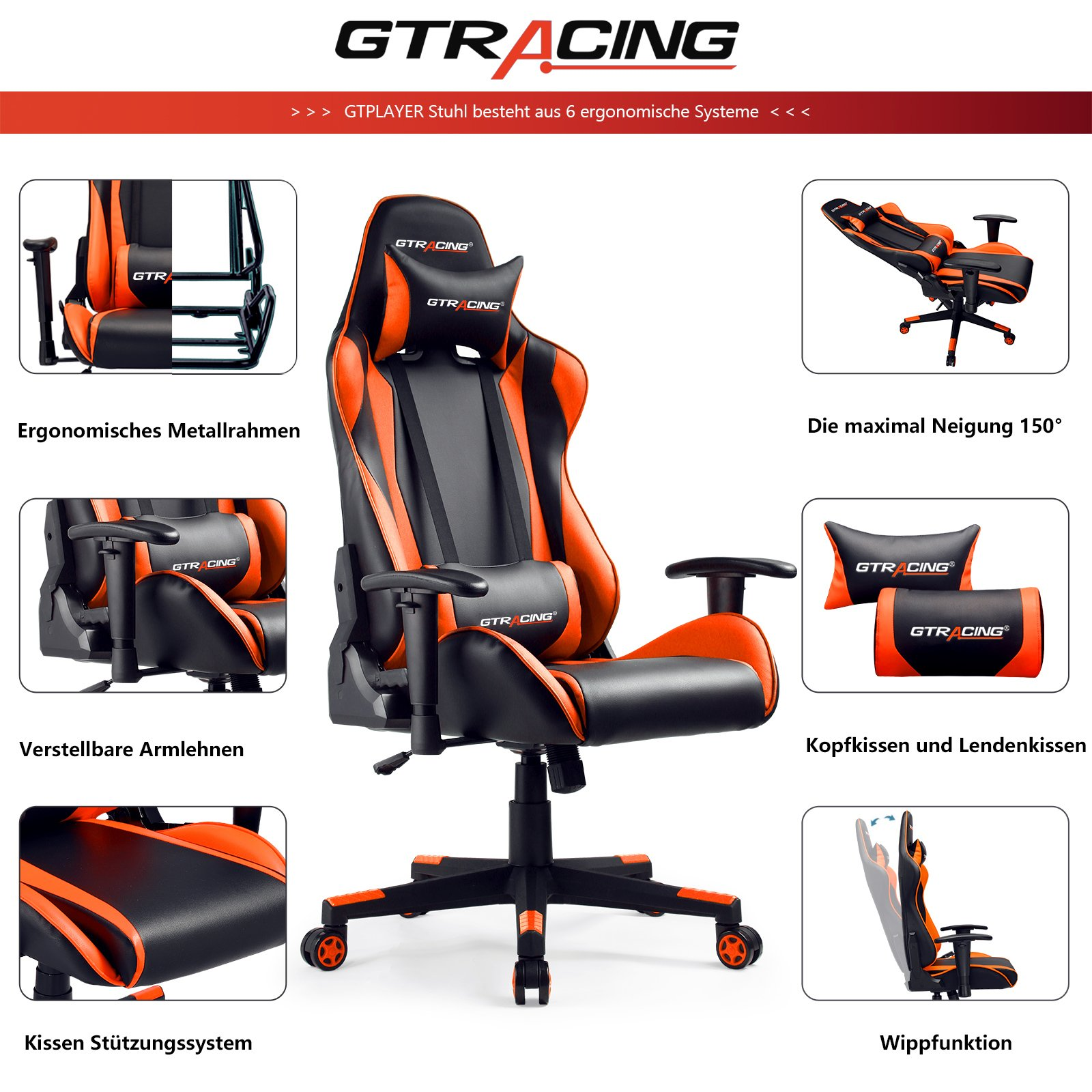 Gtracing Gaming Chair Racing Reclining Ergonomic Leather Office Chair Orange Walmart Com Walmart Com